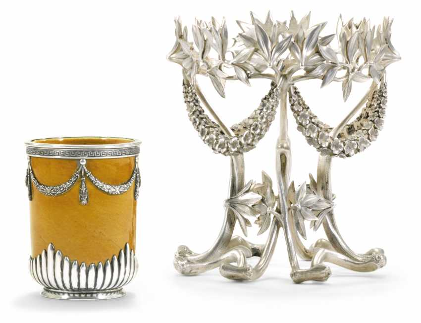 A SILVER STAND AND A SILVER-MOUNTED CERAMIC VASE - photo 1