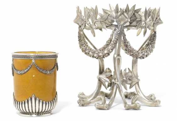 A SILVER STAND AND A SILVER-MOUNTED CERAMIC VASE - photo 2
