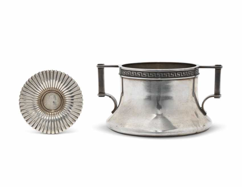 A SILVER BOWL AND A MINIATURE DISH - photo 1
