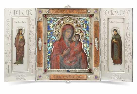 A GEM-SET, ENAMEL AND WOOD SILVER-MOUNTED TRIPTYCH ICON - photo 1