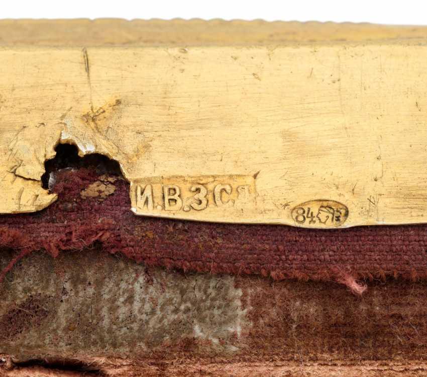 A CLOISONNÉ AND CHAMPLEVÉ ENAMEL PARCEL-GILT SILVER ICON OF THREE SAINTS - photo 3