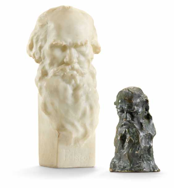 A BRONZE AND A MARBLE BUST OF LEO TOLSTOY - photo 1