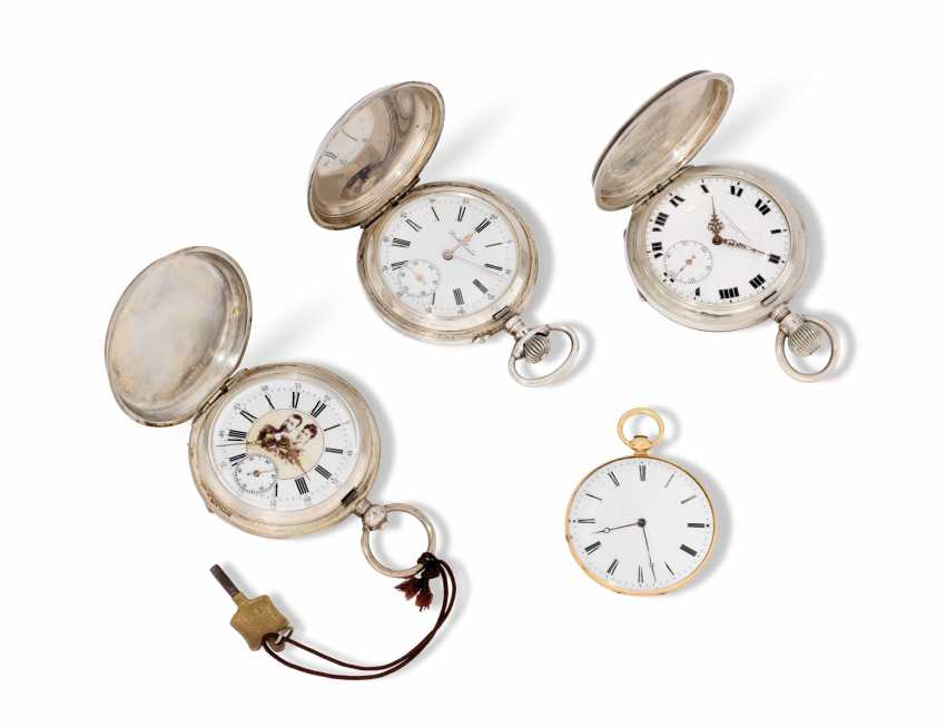 FOUR ENAMEL, SILVER AND GOLD POCKET WATCHES - photo 2