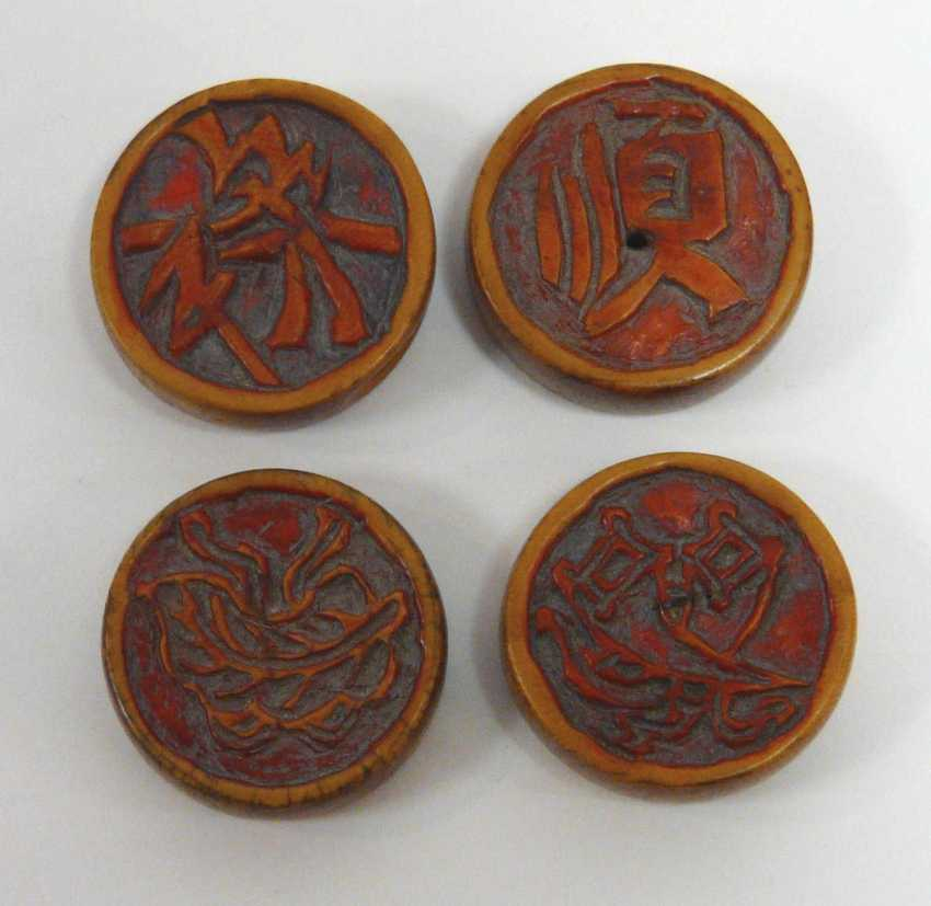Four Chinese Xiangqi game stones - photo 2