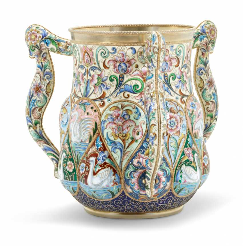 A LARGE AND IMPORTANT SILVER-GILT AND CLOISONNÉ ENAMEL THREE-HANDLED CUP - photo 1
