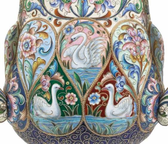 A LARGE AND IMPORTANT SILVER-GILT AND CLOISONNÉ ENAMEL THREE-HANDLED CUP - photo 2