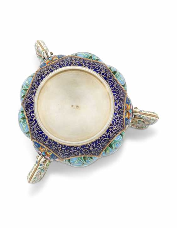 A LARGE AND IMPORTANT SILVER-GILT AND CLOISONNÉ ENAMEL THREE-HANDLED CUP - photo 3