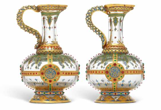 TWO ENAMELLED GLASS KVAS JUGS - photo 1