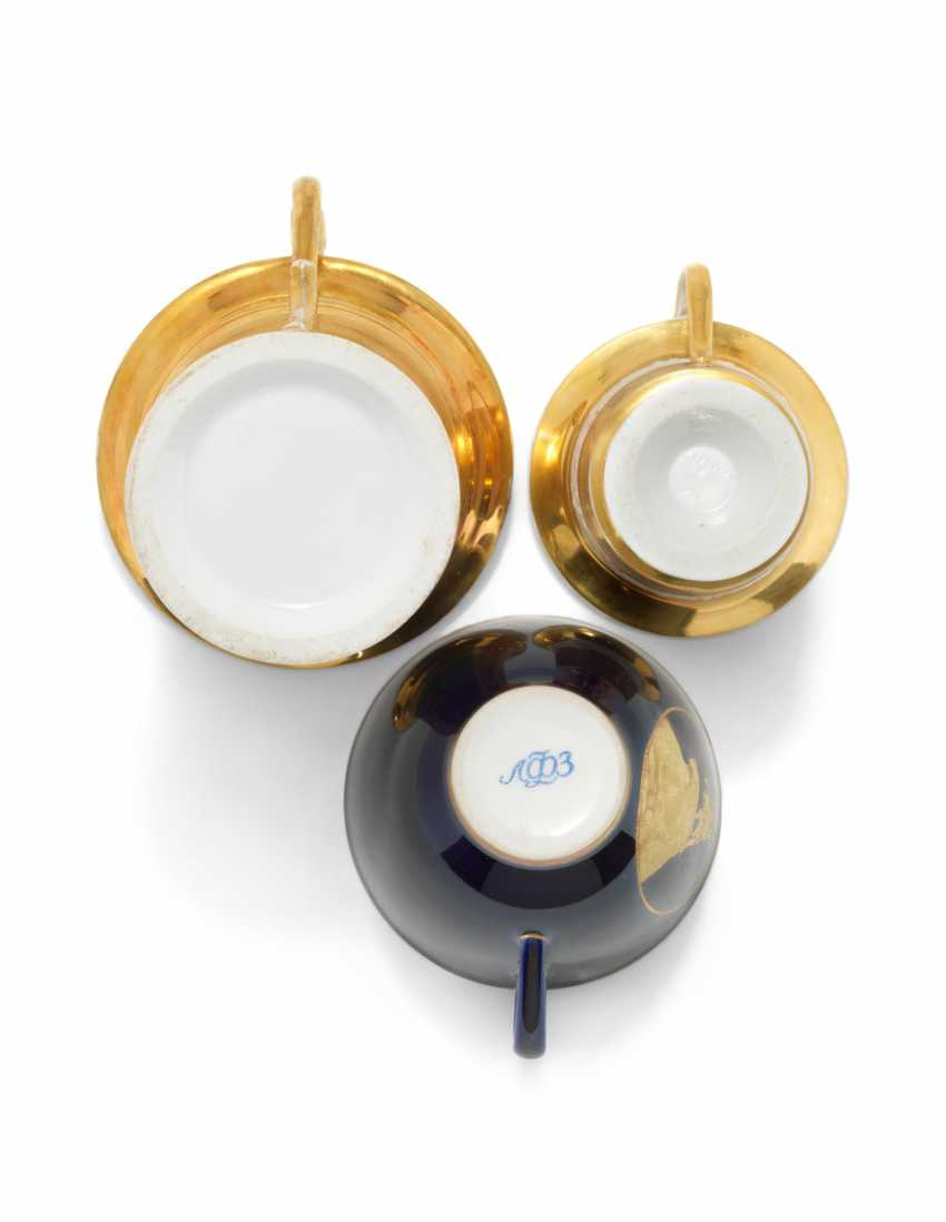 THREE PORCELAIN CUPS AND SAUCERS - photo 3