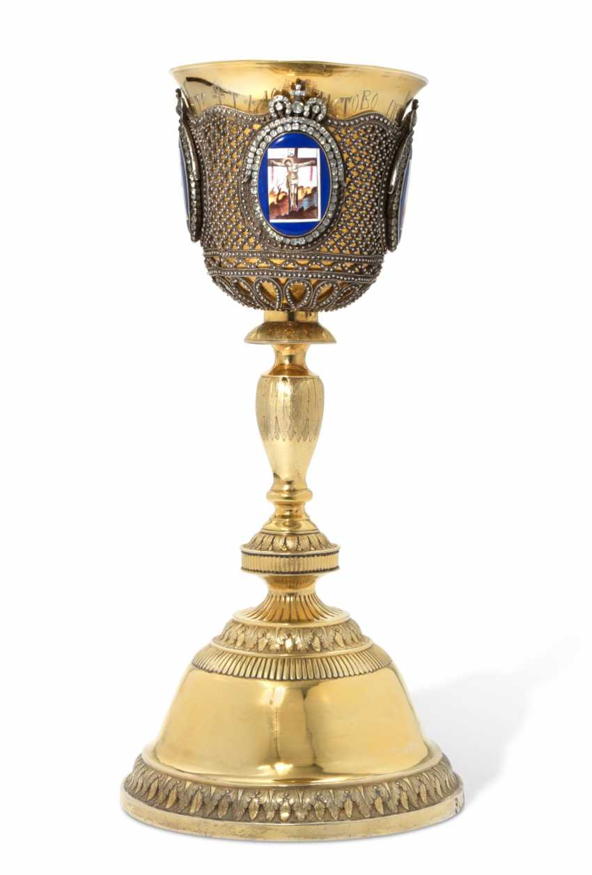 A LARGE SILVER-GILT AND ENAMEL CHALICE - photo 1