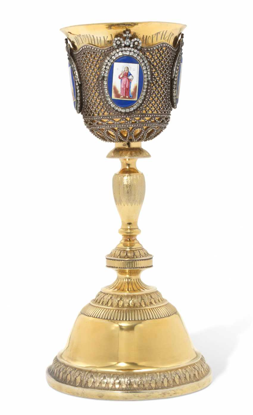 A LARGE SILVER-GILT AND ENAMEL CHALICE - photo 2