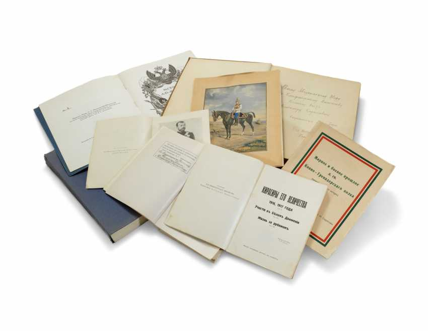 G.A. GASZTOWT [GOSHTOVT]. Kirasiry Ego Velichestva [His Majesty's Cuirassiers in the Great War, its Actions in the White Movement]. Paris: 1938-42-44. 3 volumes, 8vo, 222 + 216 + 368 pages, plates and illustrations, original cloth, the first and third vol - photo 1