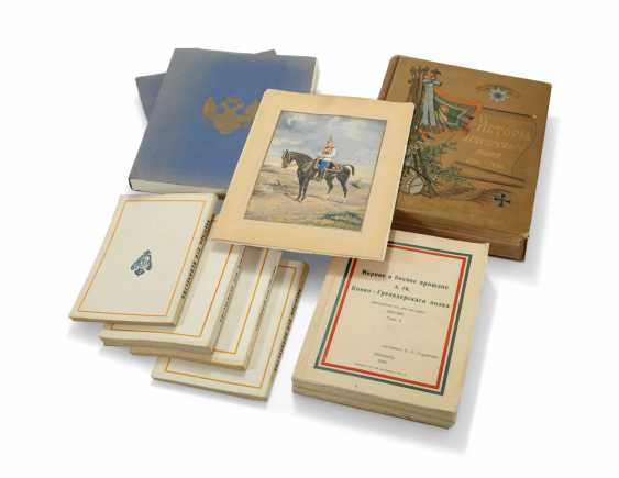 G.A. GASZTOWT [GOSHTOVT]. Kirasiry Ego Velichestva [His Majesty's Cuirassiers in the Great War, its Actions in the White Movement]. Paris: 1938-42-44. 3 volumes, 8vo, 222 + 216 + 368 pages, plates and illustrations, original cloth, the first and third vol - photo 2