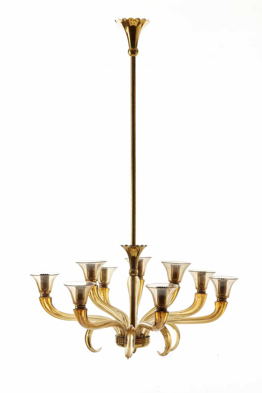 Suspension lamp with nine lights in pagliesco blown glass with cup lampshades and brass inserts - photo 1