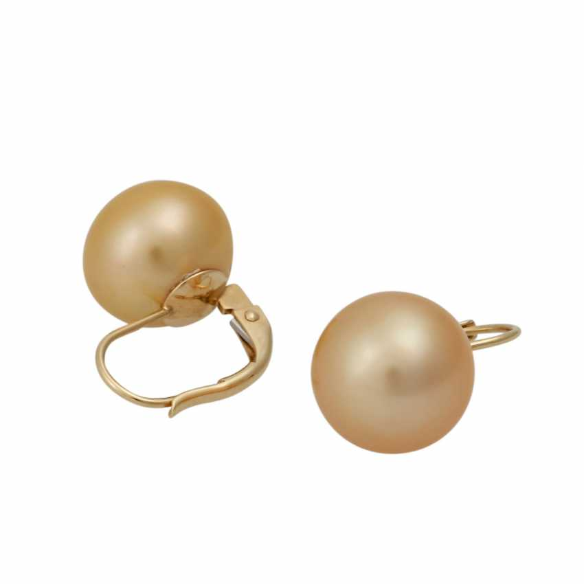 Set Ring and earrings with Golden South sea pearls, - photo 4