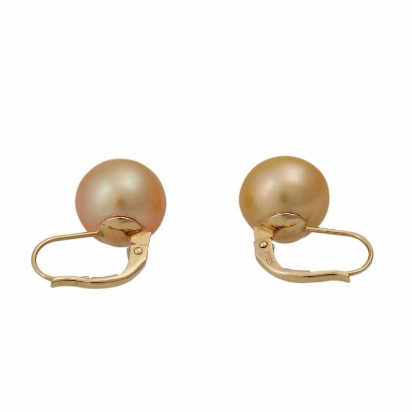 Set Ring and earrings with Golden South sea pearls, - photo 5