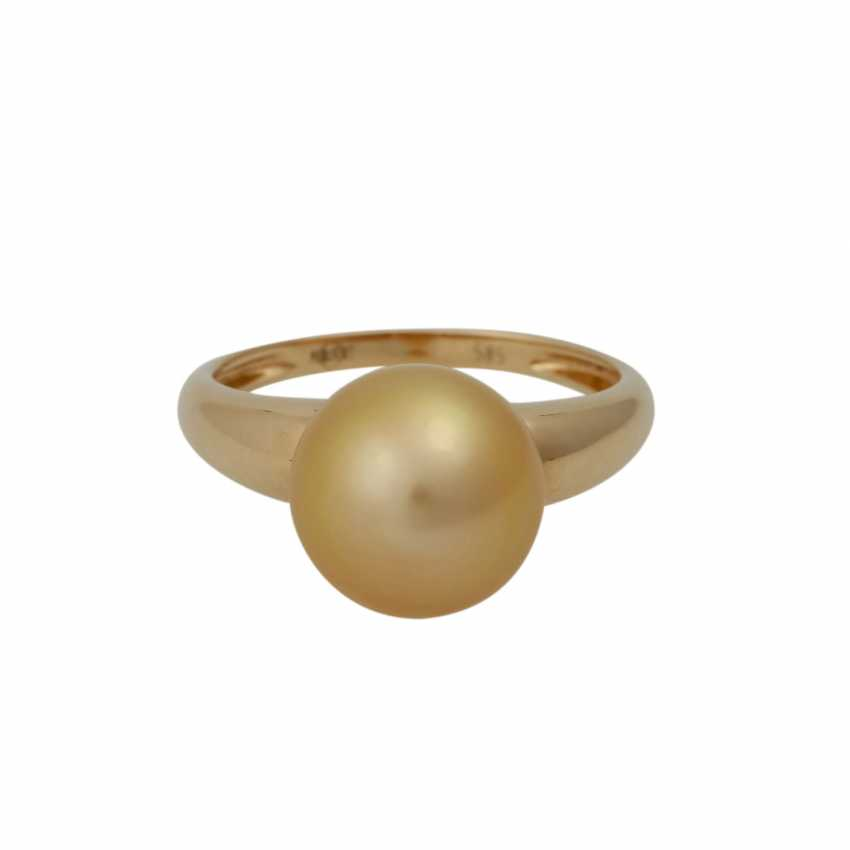 Set Ring and earrings with Golden South sea pearls, - photo 6