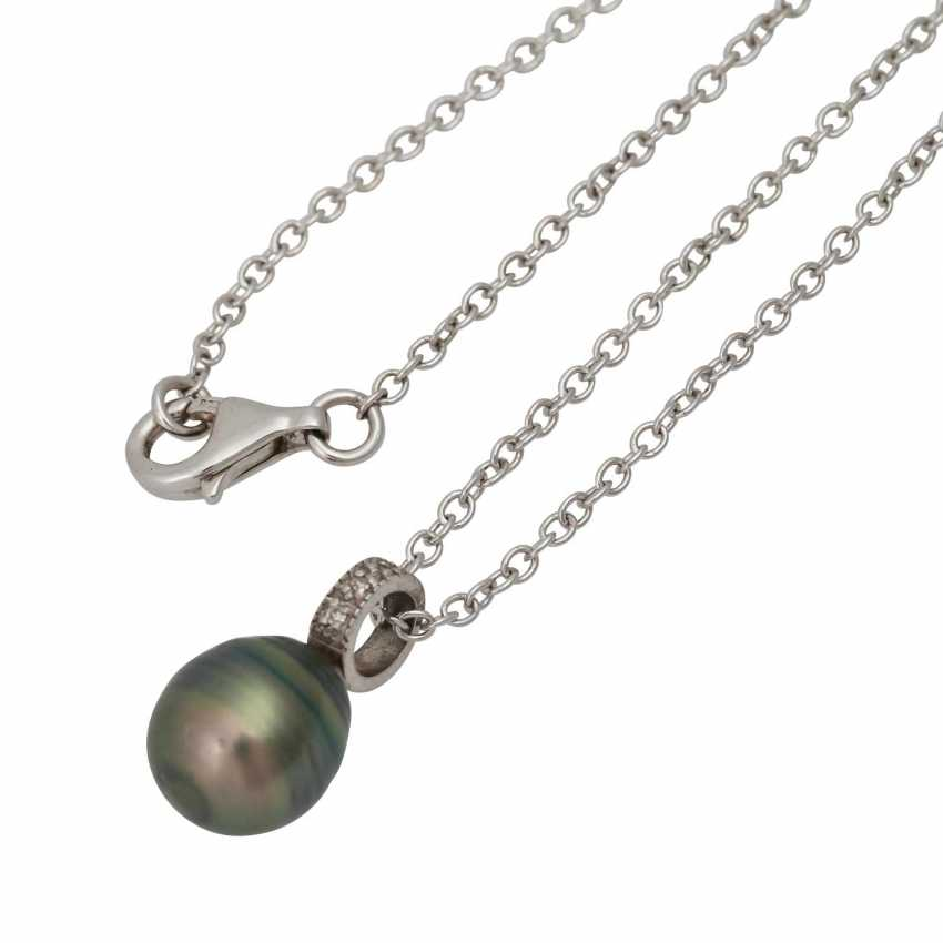 Chain with 3 different pearl pendants, - photo 2