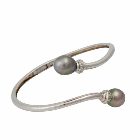 Silver bangle with cultured pearls - photo 2