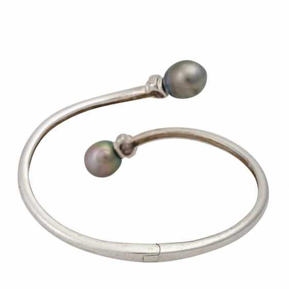 Silver bangle with cultured pearls - photo 3