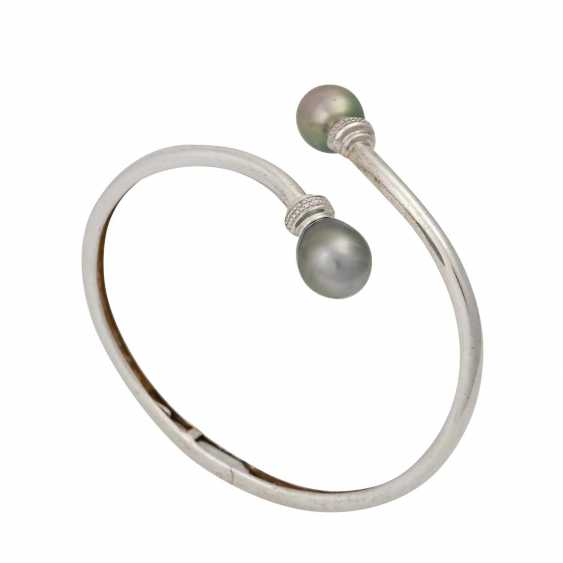 Silver bangle with cultured pearls - photo 4