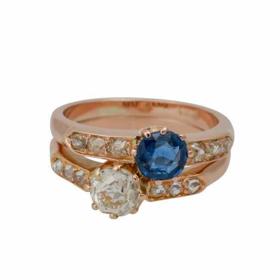 Ring with sapphire and old European cut diamond - photo 1