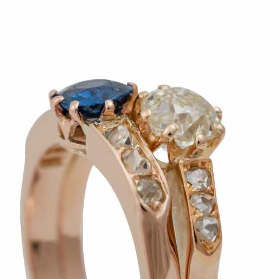 Ring with sapphire and old European cut diamond - photo 5