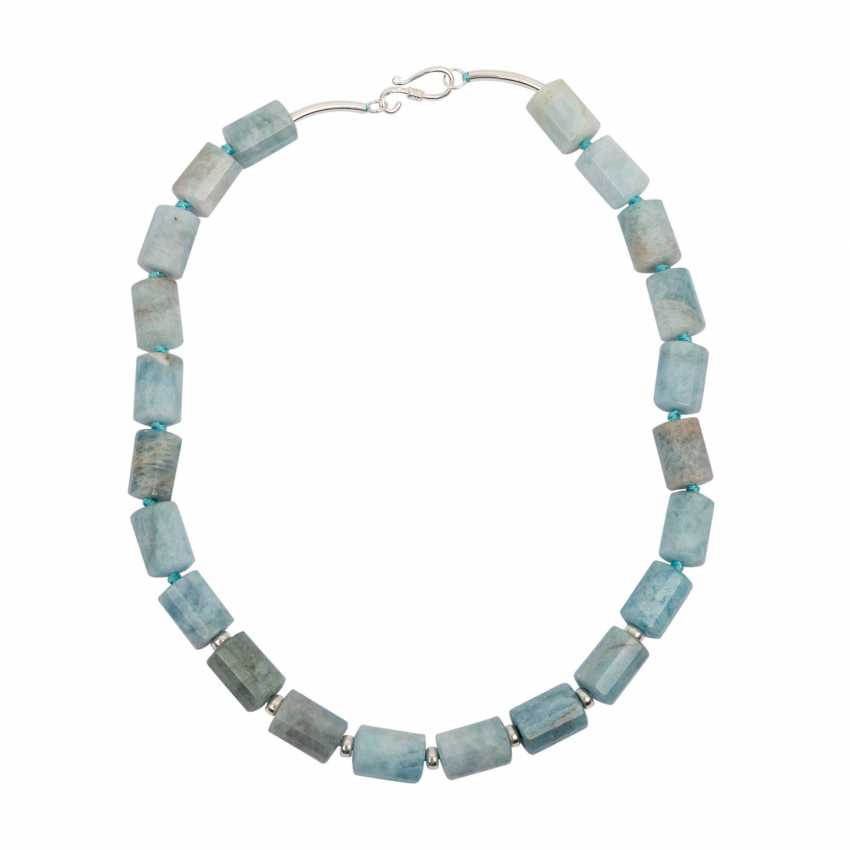 Aquamarine necklace with Sterling silver hook closure - photo 1