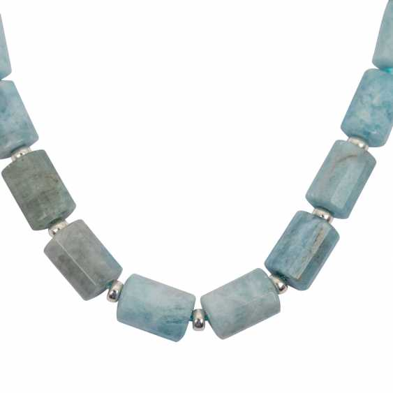 Aquamarine necklace with Sterling silver hook closure - photo 3