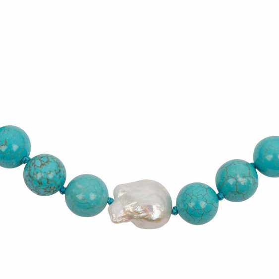 Turquoise ball chain necklace with Baroque pearl and Sterling silver - photo 2