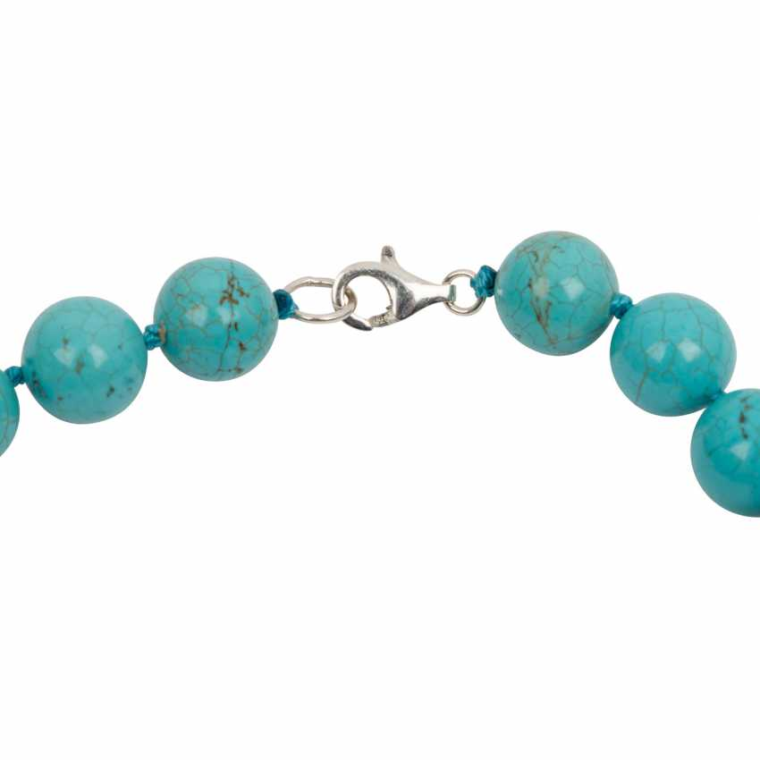 Turquoise ball chain necklace with Baroque pearl and Sterling silver - photo 3