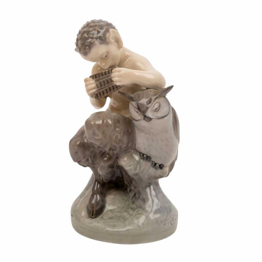 "ROYAL COPENHAGEN porcelain figurine ""Faun with owl"" - photo 1"