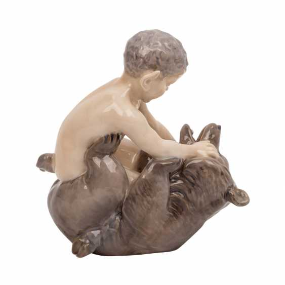 "ROYAL COPENHAGEN porcelain figurine ""Faun with bear"" - photo 4"