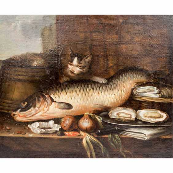 """PAINTER/17./18. Century, """"still life with fish, oysters, and onions"""", - photo 1"""