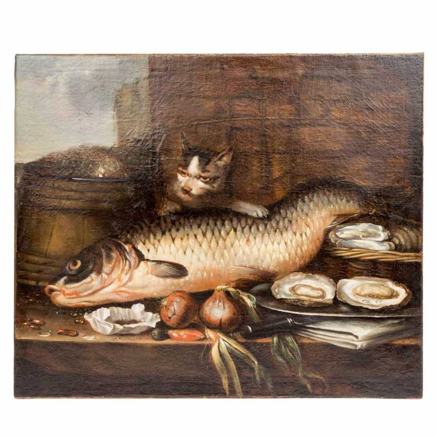 """PAINTER/17./18. Century, """"still life with fish, oysters, and onions"""", - photo 2"""