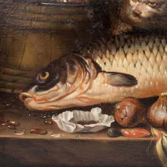"""PAINTER/17./18. Century, """"still life with fish, oysters, and onions"""", - photo 3"""