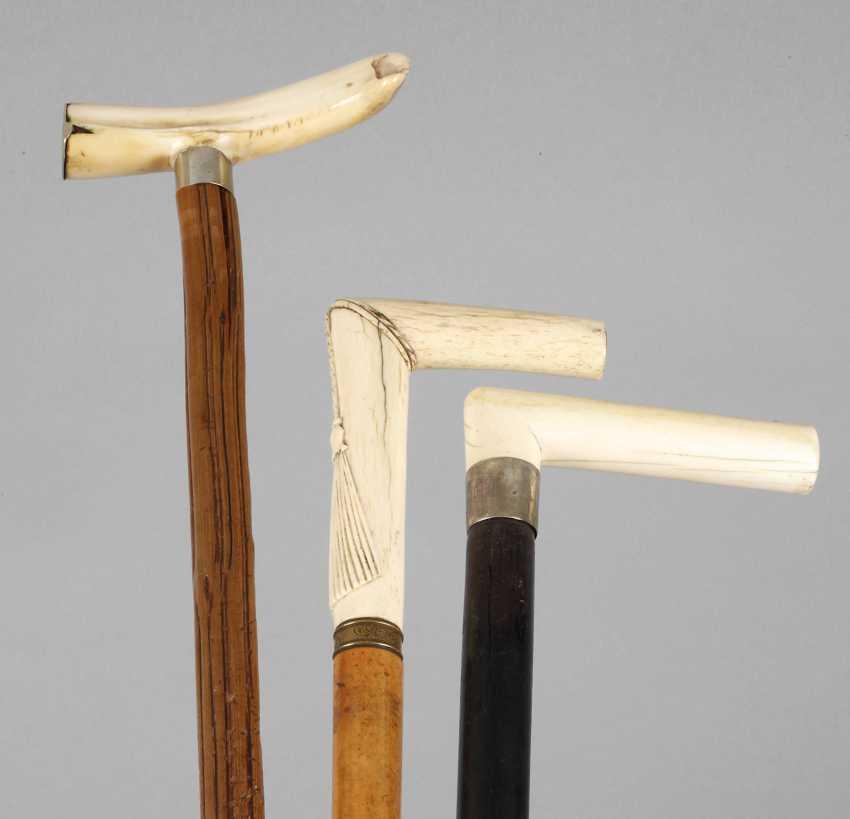 Three Walking Sticks With Ivory - photo 1
