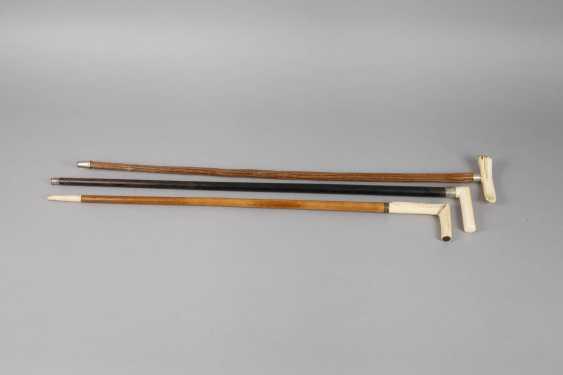 Three Walking Sticks With Ivory - photo 2