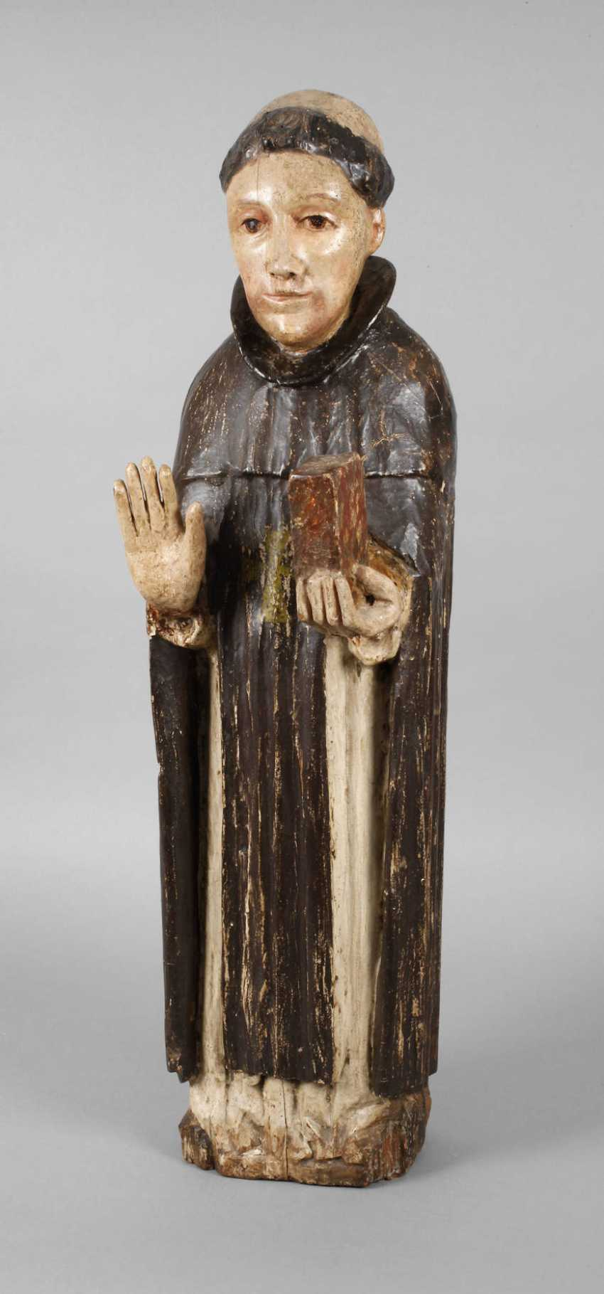 Carved Saint Statue In Case - photo 1