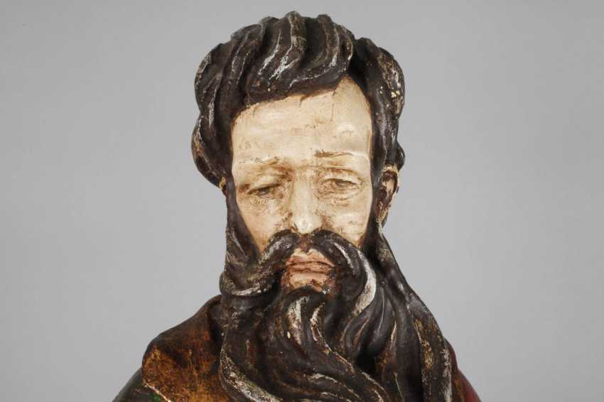 Carved Saint Statue In Case - photo 2