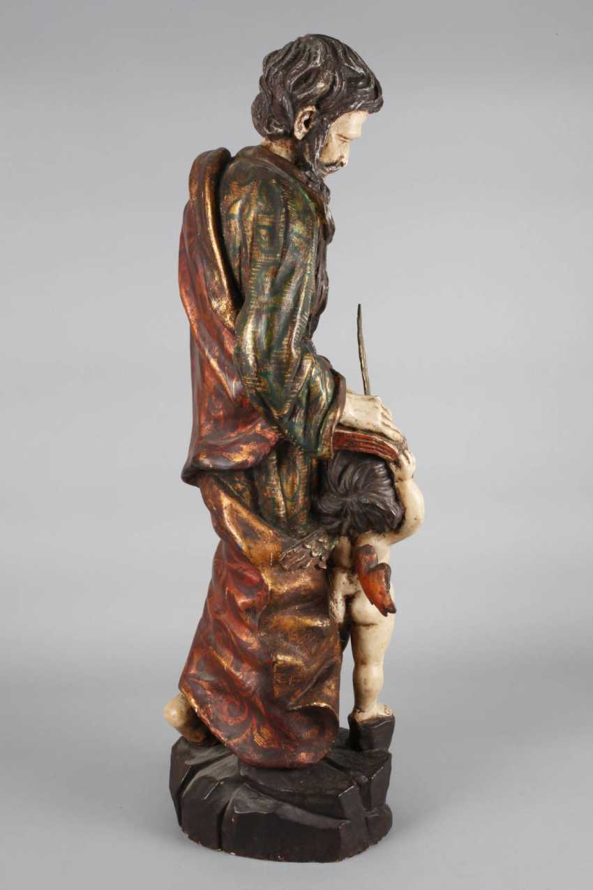 Carved Saint Statue In Case - photo 3