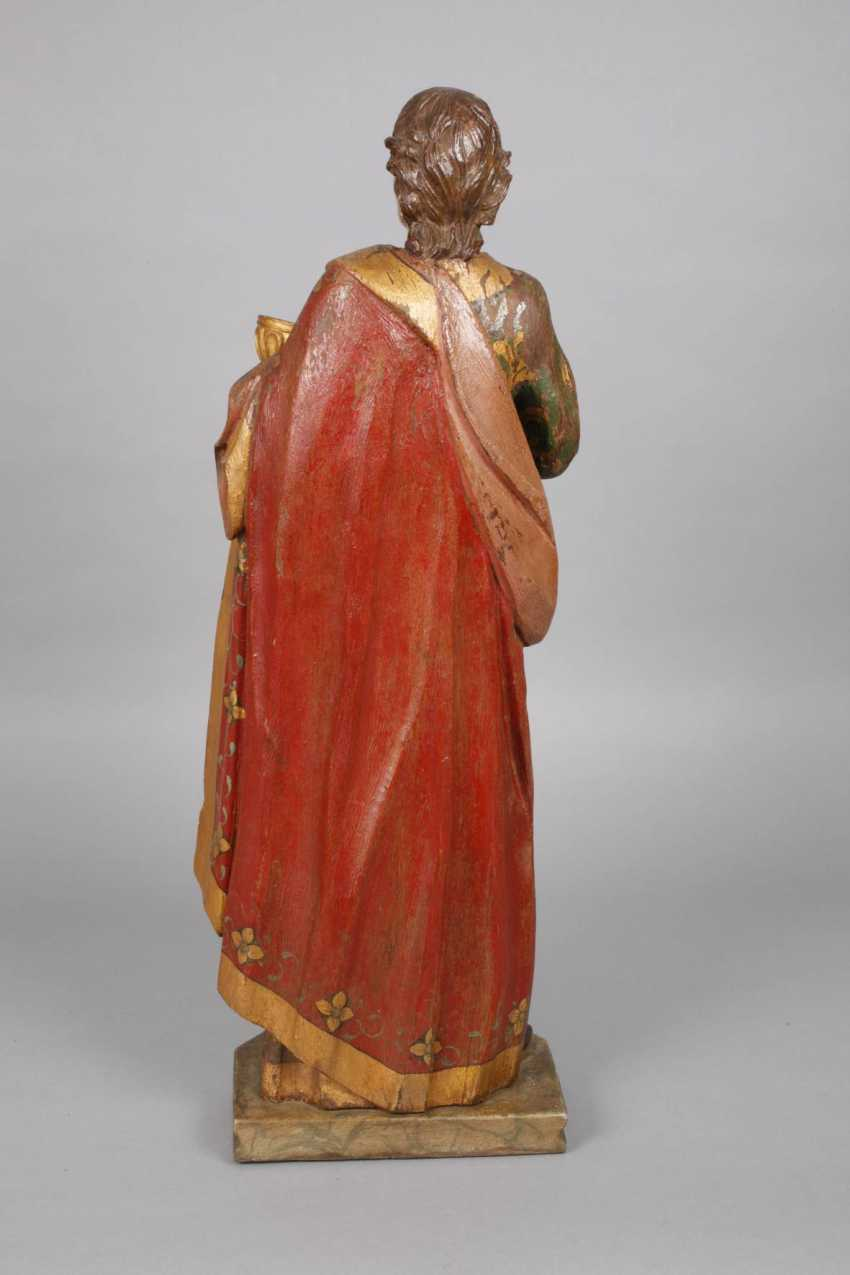 Large carved Saint statue in case - photo 3