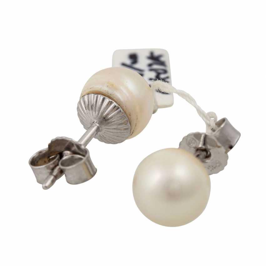 Pearl stud earrings, - photo 3