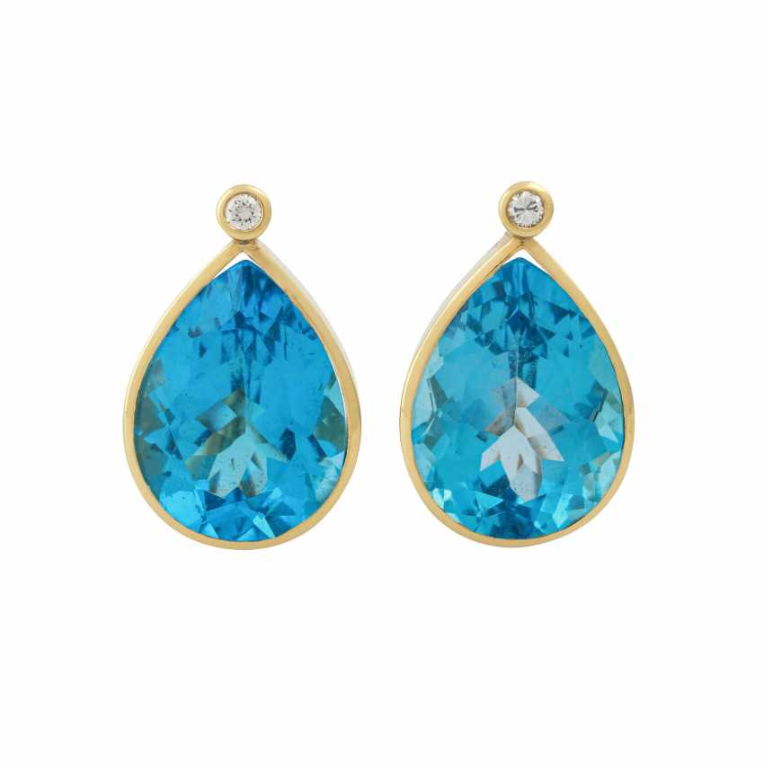 Earrings with 1 diamond, together approx 0,14 ct, - photo 1