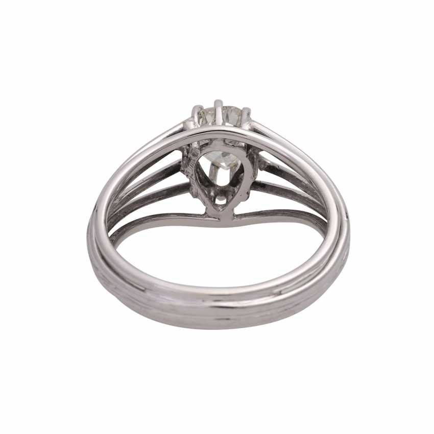 Solitaire ring with diamond-pear-cut, approximately 0.8 ct, - photo 4