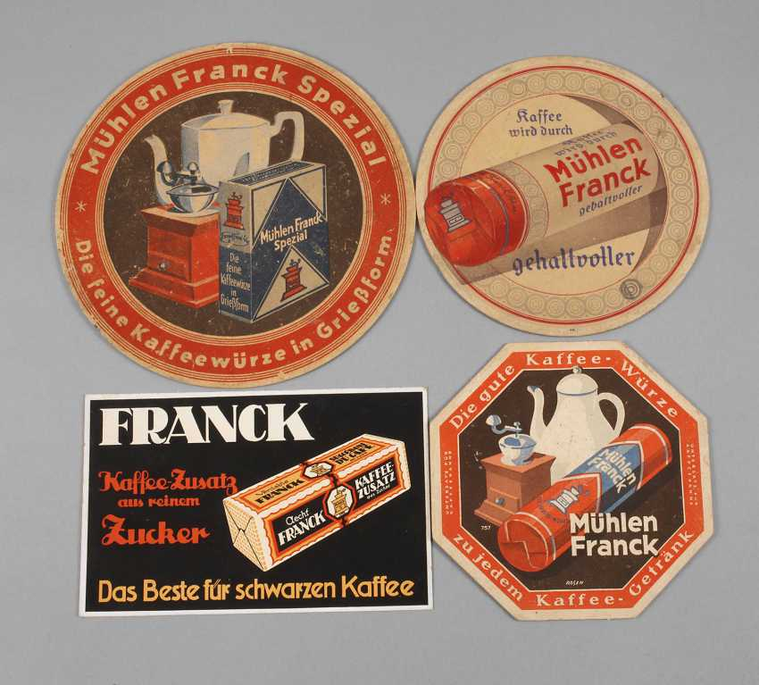 Four Cardboard Advertising Signs, Franck Coffee - photo 1