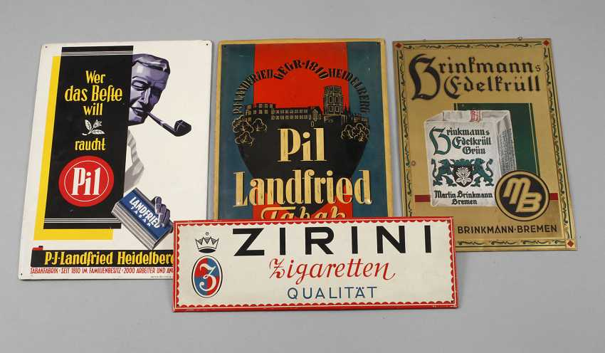 Four Advertising Signs Tobacco - photo 1