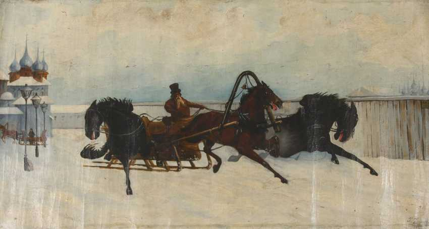 J. Zimorski, horse-drawn sleigh in front of a Russian village - photo 1