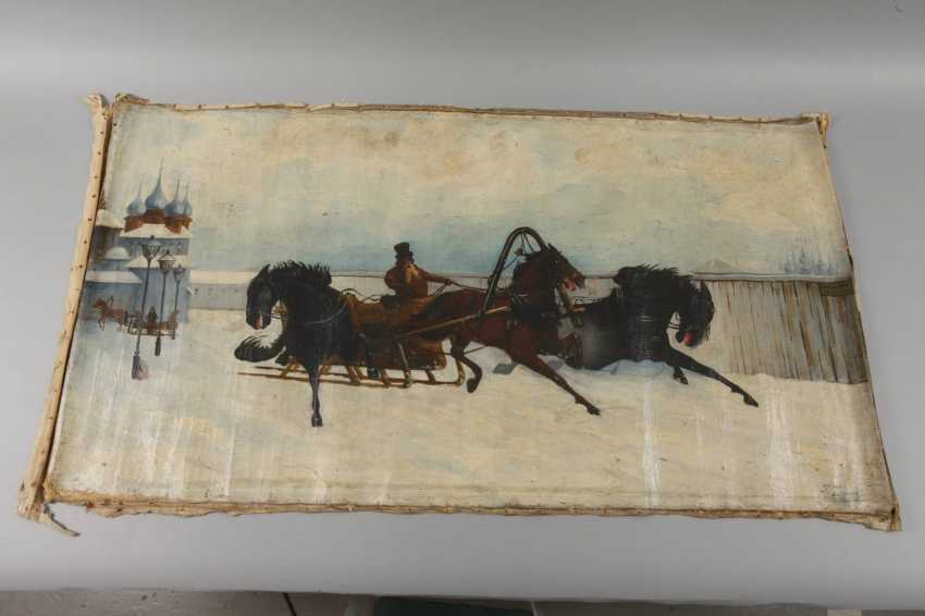 J. Zimorski, horse-drawn sleigh in front of a Russian village - photo 2