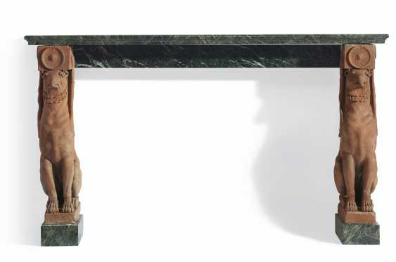A NEOCLASSICAL TERRACOTTA AND VERT DE MER MARBLE CONSOLE - photo 2